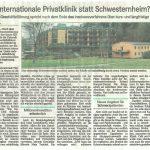 Internationale Privatklinik statt Schwesternwohnheim!